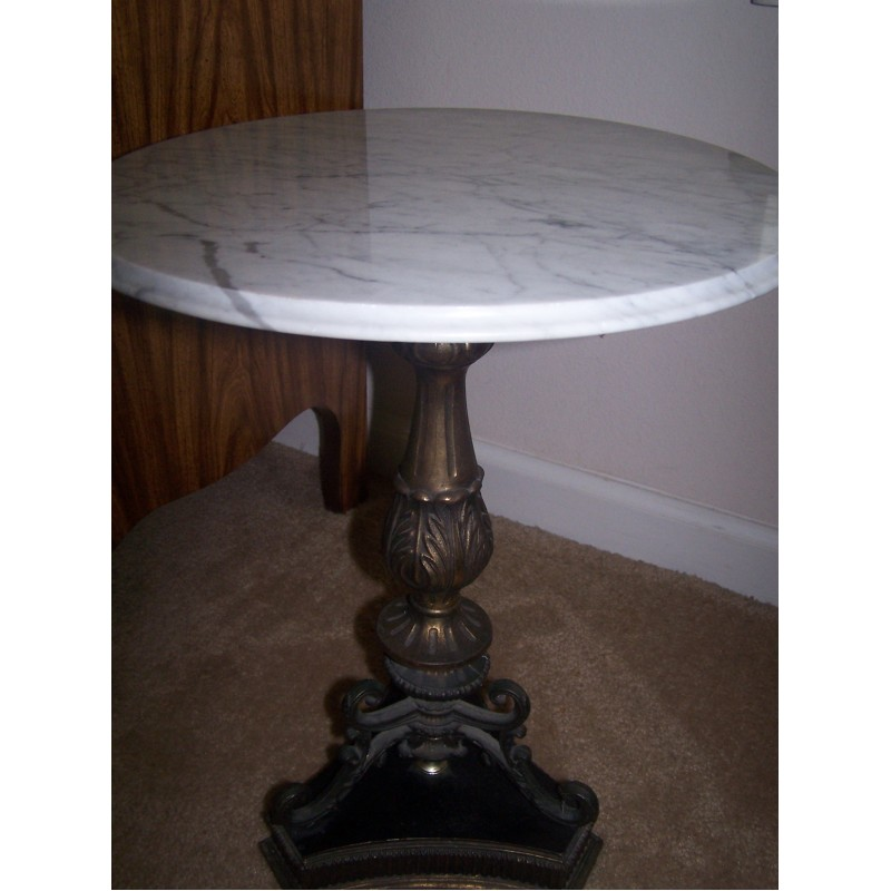 Vintage Cast Iron And Marble Table